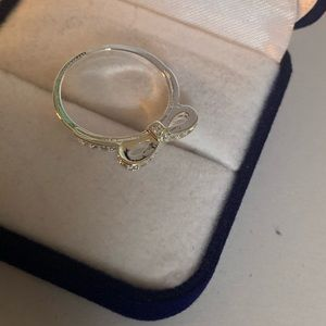 Silver plated bow ring
